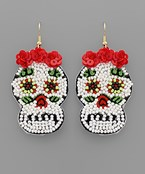 Bead Sugar Skull Earrings