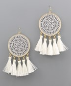 Filigree Disc Tassel Earrings