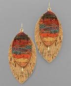 Cork Feather Layer Earrings
