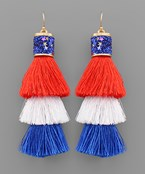 USA Tassel & Glitter Earrings