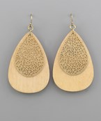 Teardrop Wood & Filigree Earrings