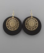 Circle Wood & Filigree Earrings