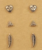 Heart & Feather Stud Set