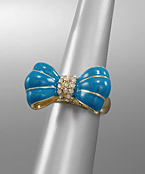 Enamel and Crystal Bow Ring