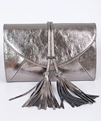 Cracked Leather Clutch w/Tassel