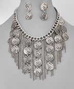 Coin and Chain Bib Necklace