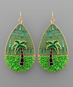 Palm Tree Teardrop Earrings