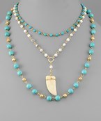 Stone Horn Layer Necklace