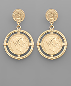 Coin & Circle Dangle Earrings