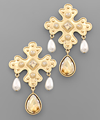 Cross & Teardrop Dangle Earrings