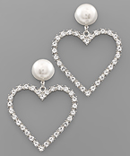 Crystal Heart & Pearl Earrings