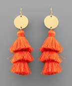 3 Layer Tassel & Disc Earrings