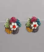 Pave Flower Clip Earrings