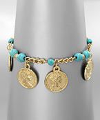 Coin and Stone Bracelet