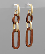 Wood Link Hoop Earrings