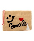 Smile Embroidered Straw Clutch