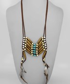 Wood Ladder & Feather Neckace