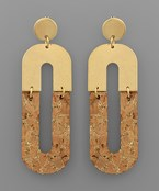Half Oval Cork Earrings
