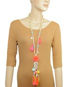 Cowry Shell Tassel Pompom Y Necklace