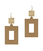 Rectangle Metal & Wood Earrings