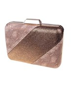 Snakeskin & Leather Colorblock Clutch