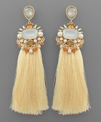 Rectangle Jewel Tassel Earrings