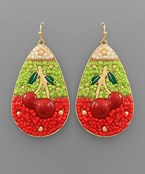 Cherry Bead Teardrop Earrings