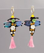 Sequin Bee Tassel Hoops