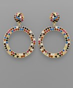 Crystal Pave Circle Earrings