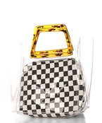 Clear Tote & Checker Print Pouch Set