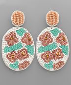 Flower Pattern Bead Oval Earrings