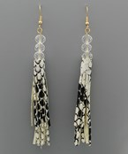 Snake Skin Tassel Bead Earrings
