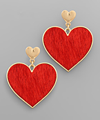 Heart Solid Genuine Leather Earrings