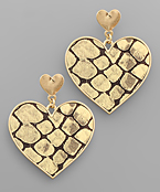 Heart Snake Genuine Leather Earrings