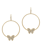 Crystal Butterfly & Circle Earrings