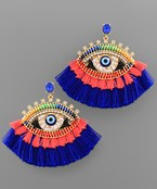 Bead Evil Eye Tassel Earrings