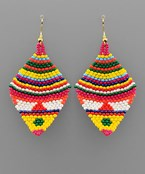Boho Pattern Rhombus Bead Earrings