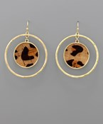Cork Dangle Circle Earrings