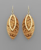 Cork Marquise Layer Earrings