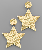 Brass Paint Star Earrings