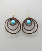 Pearl & Leather Circle Earrings