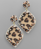 Animal Print Marquise & Bead Line Earrings