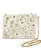Sequin Flower & Pearl Clutch