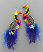 Bird Bead & Feather Earrings