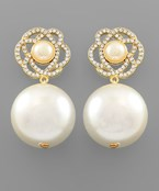 Flower & Pearl Ball Earrings