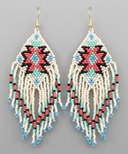 Tribal Pattern Bead Fringe Earrings