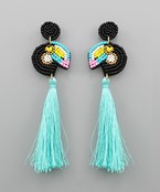 Tassel Drop Beaded Bird Earrings