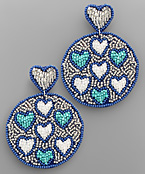Heart Pattern Bead Disk Earrings