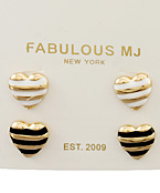 Stripe Color Heart Studs Set