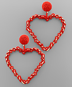 Flower Bead Heart Earrings